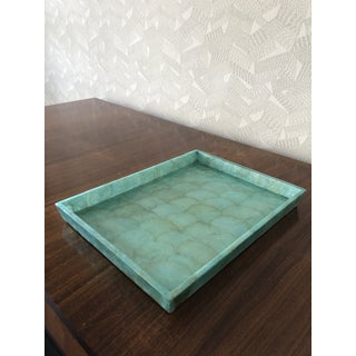 Pigeon & Poodle Andria Aqua Hammered Shell Large Tray Preview
