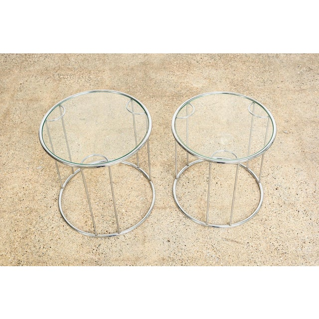 Chrome Mid Century Baughman Style Chrome & Glass Nesting Side Tables For Sale - Image 7 of 11