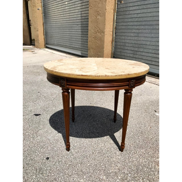 1910s French Louis XVI Marble Top Side Table For Sale - Image 13 of 13
