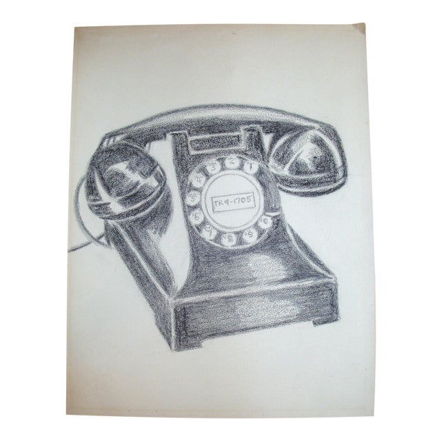 Vintage Black Bakelite Telephone Charcoal Drawing For Sale