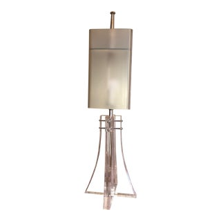 1960s Large Lucite Eiffel Tower Lamp and Custom Made Celadon Lucite Lampshade For Sale