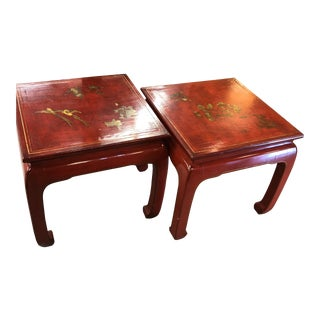 Vintage Red Asian Tables With Gold Trim and Motifs