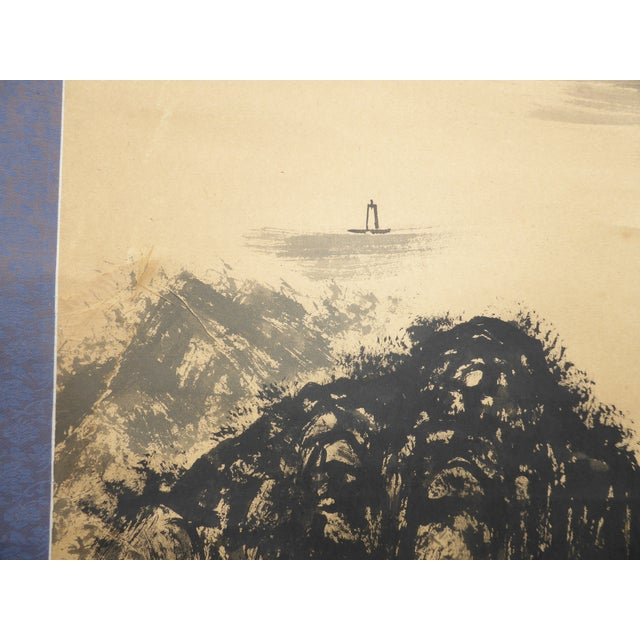 Vintage Japanese Mountains & Fishing Boats Scroll Painting - Image 7 of 11