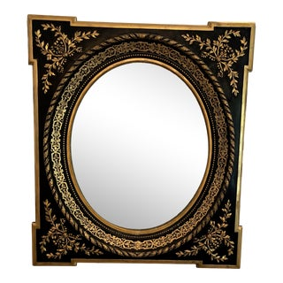 Antique French Neoclassical Style Gilt Ebonized Oval Mirror For Sale