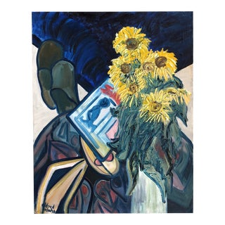 Vintage Still Life Painting of Sunflowers on a Painted Table For Sale