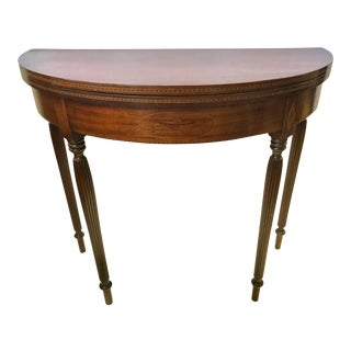 Mahogany Inlay Demilune Flip Top Console Game Table For Sale
