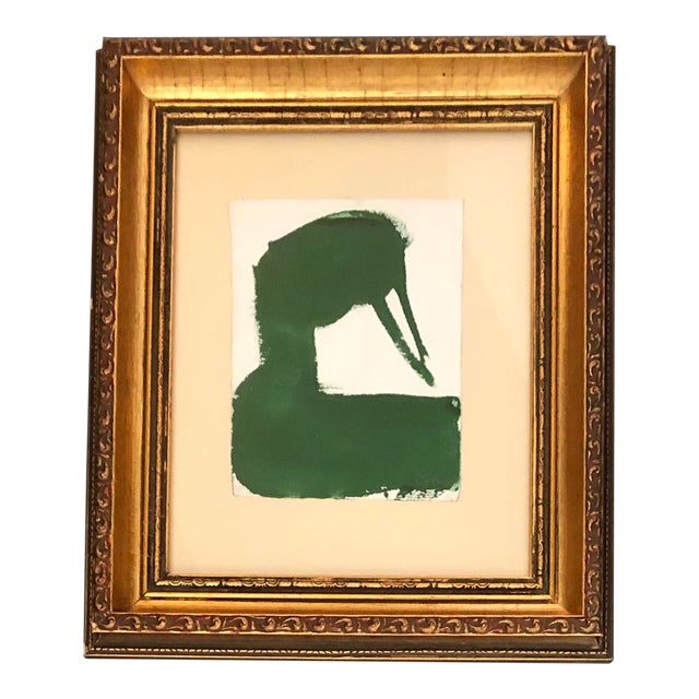 Original Vintage Robert Cooke Abstract Green Duck Painting For Sale
