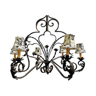Wrought Steel French Country Chandelier For Sale