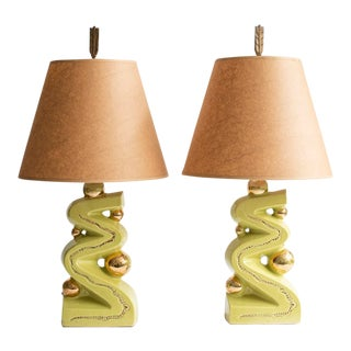 Pair of 1950s Chartreuse and Gold Ceramic Lamps
