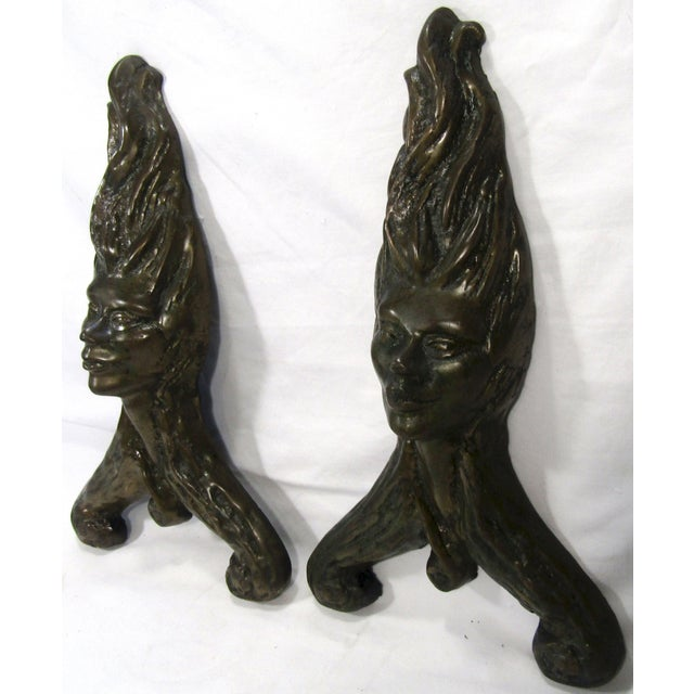Antique Fire Dog Chenet Figural Water Nymph Fireplace Andirons - a Pair For Sale - Image 9 of 10
