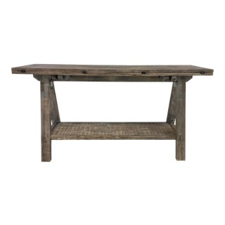 Gray Washed Flip Top Console Table/Dining Table For Sale