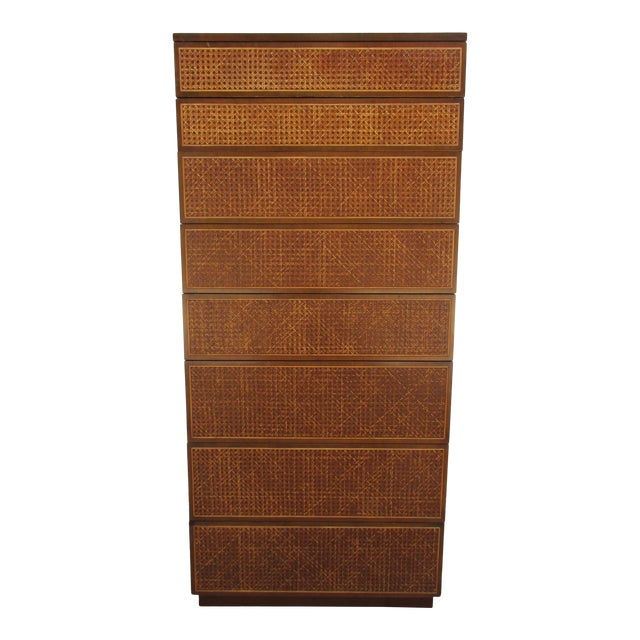 Cane Front Eight Drawer Dresser by Directional For Sale