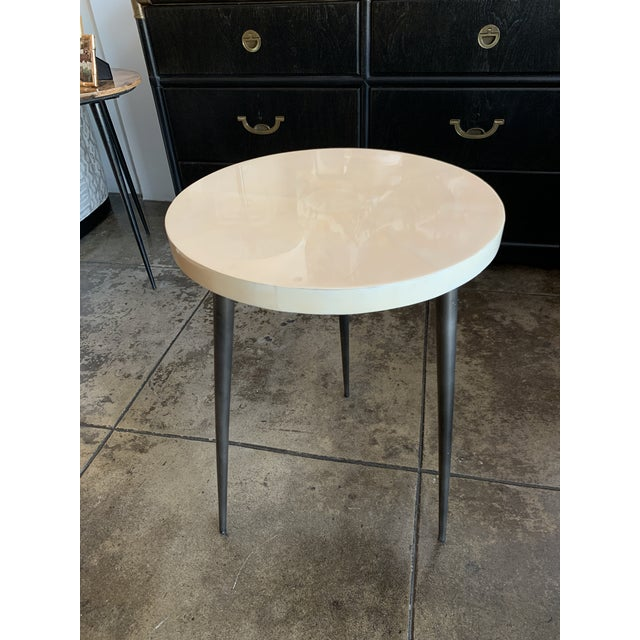 Contemporary Vellum Side Table For Sale - Image 4 of 9