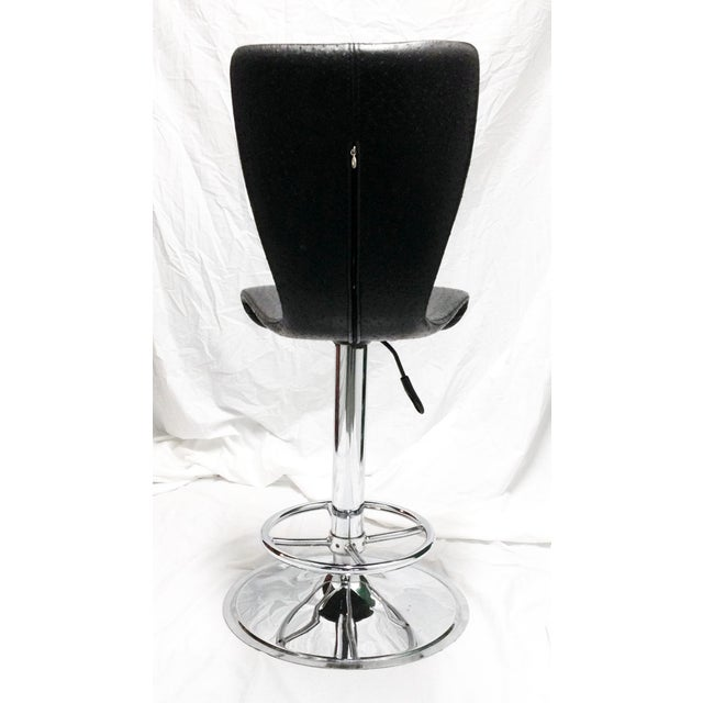 Black & Chrome Ostrich Stool - Image 3 of 6
