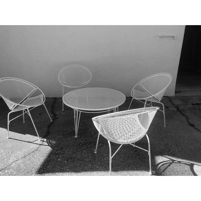 Metal Tempestini Salterini 4 Radar Hoop Chairs and Cocktail Table - Set of 5 For Sale - Image 7 of 13