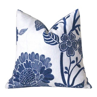 Schumacher Elspeth Navy & White Pillow Cover 18x18 For Sale
