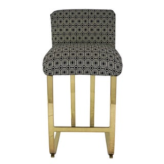 Vintage Milo Baughman Style Brass Cantilever Bar Stools- Set of 3 Preview