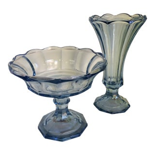 Vintage Fostoria Blue Candy Dish & Fostoria Blue Vase - 2 Piece For Sale