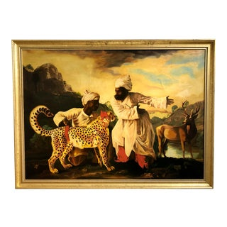 Early 20th Century Continental School Painting of Moroccan Men and Cheetah For Sale