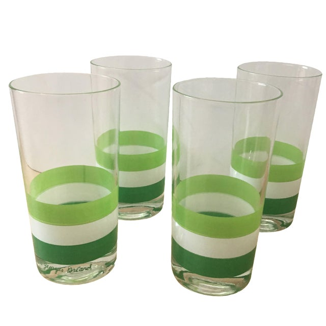 Georges Briard Green & White Tumblers - Set of 4 - Image 1 of 5
