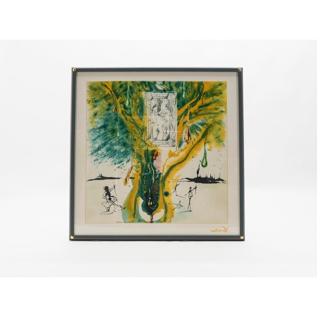 """Beautiful Salvador Dali surrealist serigraphy on silk from the series """"Alchemy of the Philosophers"""" in 1976. This is the..."""