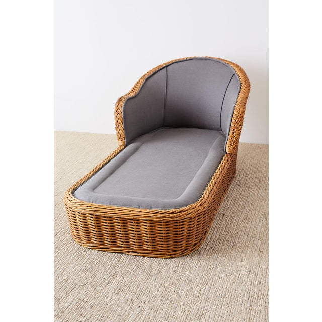 Contemporary Michael Taylor Style Wicker Chaise Lounge For Sale - Image 3 of 13