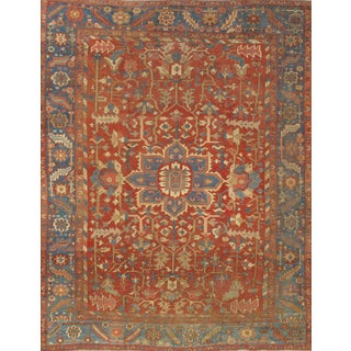 "Pasargad Ny Antique Persian Heriz Serapi Rug - 9'7"" X 12'1"" For Sale"