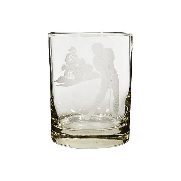 Vintage Etched Golf Glass Tumblers - Set of 5 - Image 3 of 3