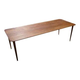 1950s Danish Modern Solid Teak Longboard Coffee Table For Sale