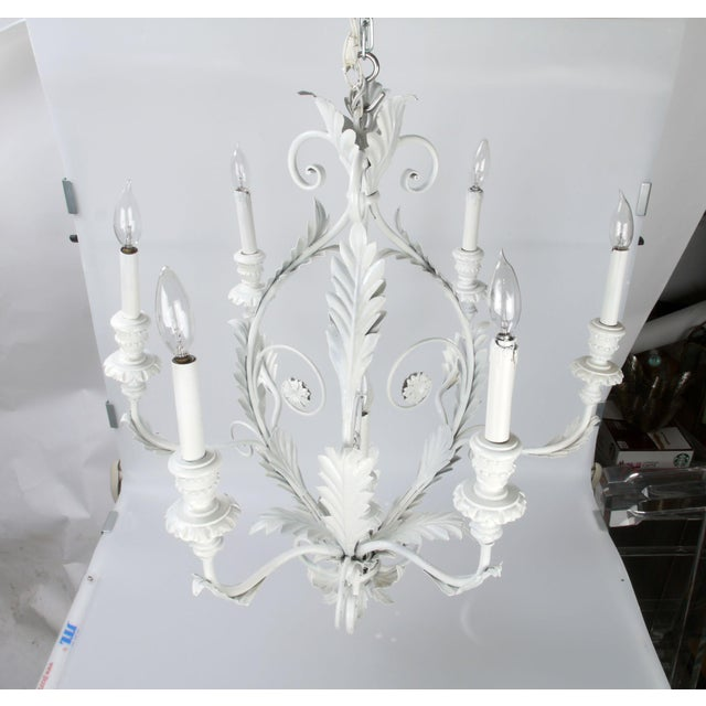 Italian Italian Metal Flower Leaf Chandelier For Sale - Image 3 of 10