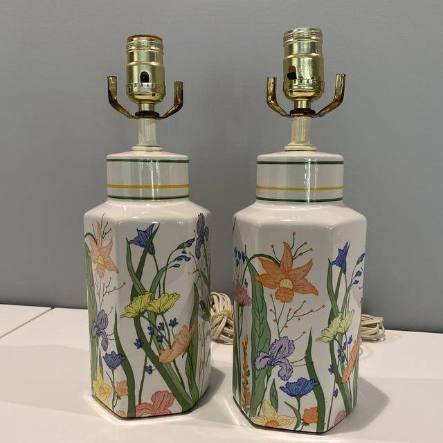 Vintage Porcelain Floral Table Lamps - a Pair For Sale - Image 12 of 13
