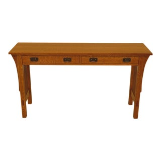 Stickley Mission Oak 2 Drawer Sofa / Console Table For Sale