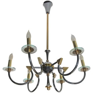 1960s French Moderne Maison Lunel Patinated Brass Chandelier