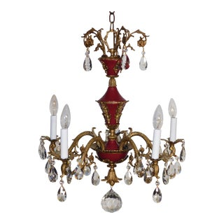 1950s French Empire Brass Dore 5 Arm Oxblood Lead Crystal Chandelier For Sale