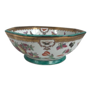 Late 20th Century Vintage Hand- Painted Chinese Ceramic Octagonal Bowl For Sale