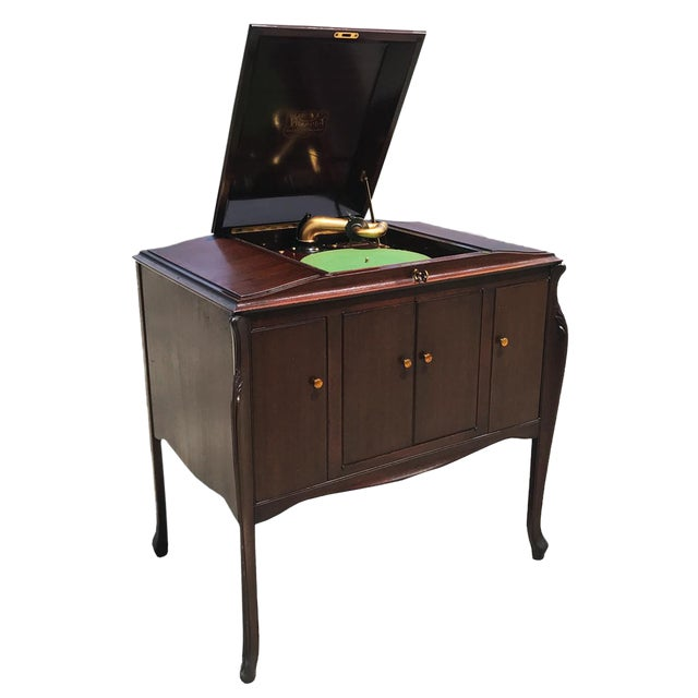 Antique Working Victor Victrola Humpback Console Mahogany Phonograph Record Player - Image 1 of 10