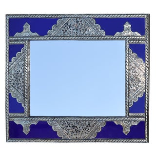 Blue & Silver Moroccan Mirror For Sale