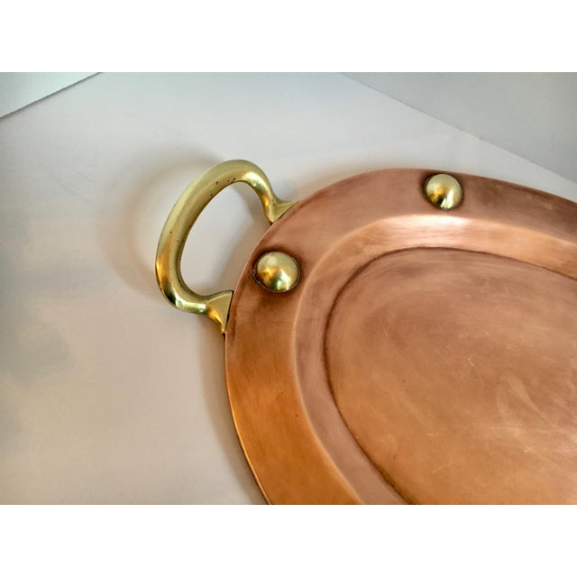Oval Copper and Brass Studded Decorative Tray For Sale In Los Angeles - Image 6 of 8