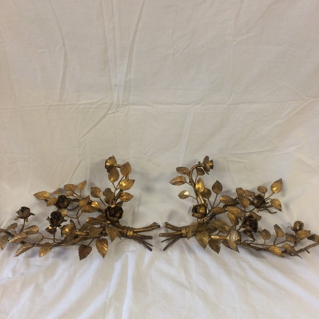French Vintage Gilded Metal Tole Candle Sconces - a Pair For Sale - Image 3 of 11