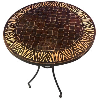 Moroccan Mosaic Brown Tile Bistro Table For Sale