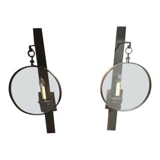 Large Glass Lens Iron Sconces - A Pair For Sale