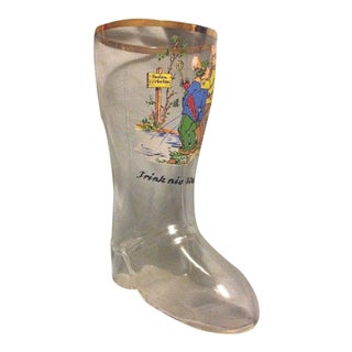 "Vintage Novelty German Glass Mini Drinking Boot ""Trink Nie Wasser!"""