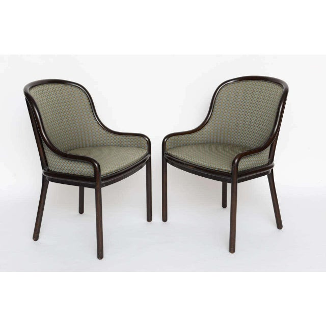 Beautiful pair of Dining or Side Chairs by Ward Bennet for Brickell. From the 1970s. In very good vintage shape.