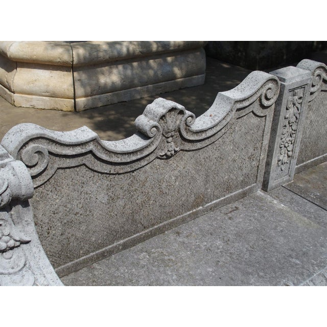 Carved Limestone Garden Bench from Northern Italy - Image 7 of 11