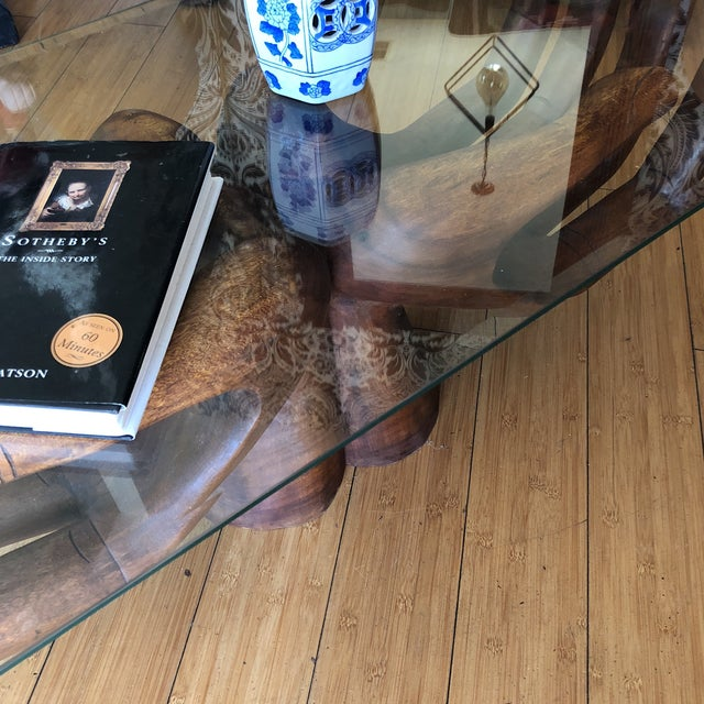 Glass Wooden Guayasamin Open Hands Coffee Table For Sale - Image 7 of 11