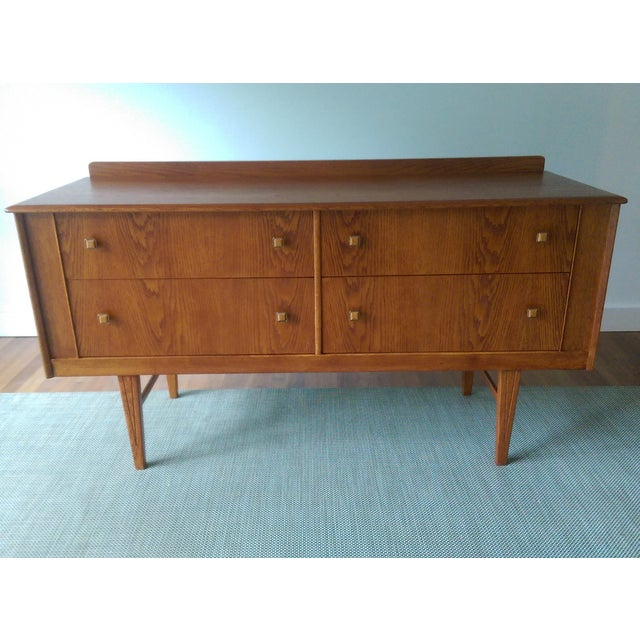 Oak Credenza with Custom Square Pulls - Image 6 of 10