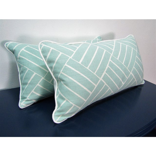New Gorgeous Pair of Lumbar Pillows in soft Sea Foam Color in a geometric pattern . The Pillows are New and made in our...