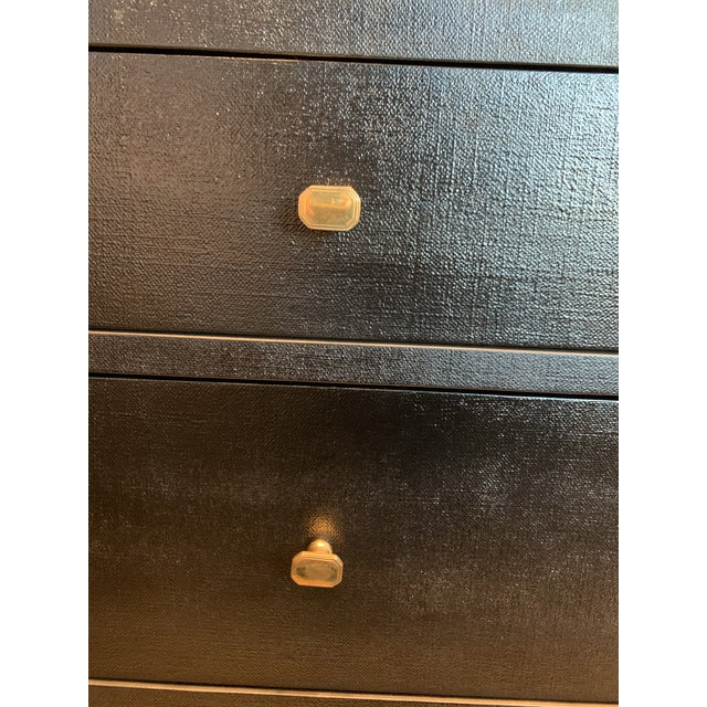 Contemporary Contemporary Faux Linen Dresser in Black For Sale - Image 3 of 13