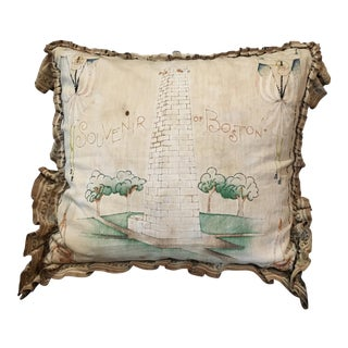 Early 20th Century Antique Embroidered Boston Souvenir Pillow For Sale