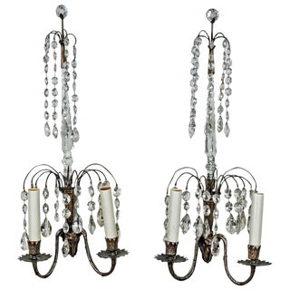 Two Pairs of Swedish Crystal Wall Sconces For Sale
